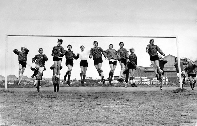 14 SEP 1971 Packing their goal but that's not how high-flying Falkirk aim to play it when they line up against English First Division side Coventry in the Texaco Cup tie at Brockville tomorrow. The Bairns' policy - all out attack.  Bleachfield Training Ground Falkirk.
