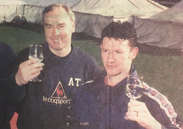 Bairns' boss Alex Totten and Kevin McAllister toast the success of the gala night.