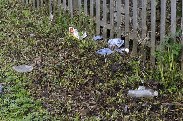 A litter problem in Hallglen is building due to the misuse of bins, according to Falkirk Council. Picture: Michael Gillen.