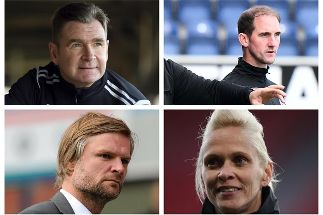 Peter Grant, Mark Kerr, Steven Pressley and Shelly Kerr are some of the names who could potentially be in the frame for the Falkirk manager's job (Pics: Lisa Ferguson/MichaelGillen/GettyImages)