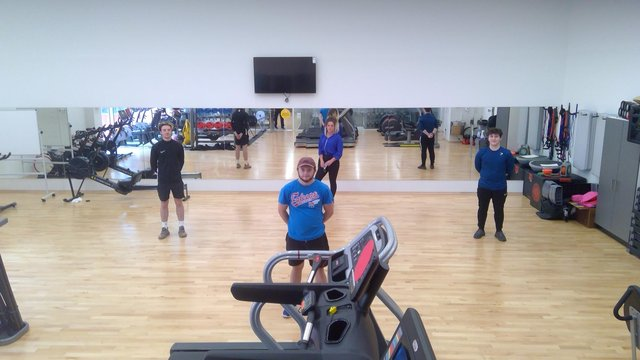 Some current SVQ students showing off the new gym facilities at FVC's Falkirk Campus