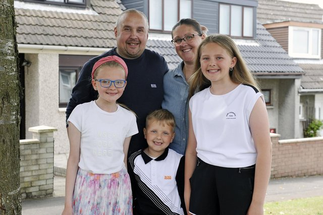 The Van Der Hoek family - from left, Kallie (10), dad Thomas, Koen (5), mum Laura and Ellie (12) - are looking forward to this year's Bo'ness Fair.  Pic: Michael Gillen