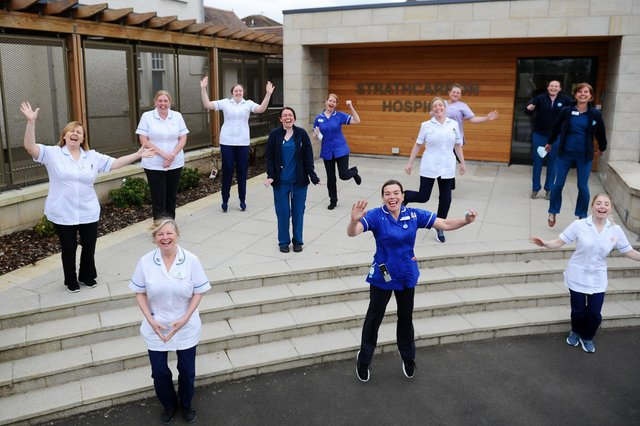 Strathcarron Hospice staff were delighted to learn Kiltwalk 2021 participants had donated more than £45,000 to the facility. Picture: Michael Gillen.