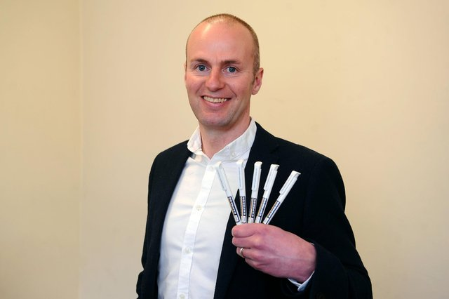 Grangemouth business Recognition Express South East Scotland is offering five anti-bacterial pens free of charge to any organisation where employees have to go into work. Pictured: Director David Mitchell. Picture: Michael Gillen.