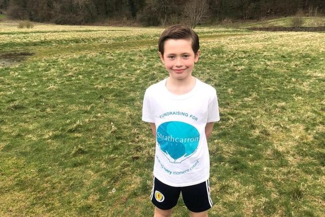 Eight-year-old Gairdoch United player James Kilgannon has raised more than £4600 for Strathcarron Hospice by pledging to run 5k every day for a month. Contributed.