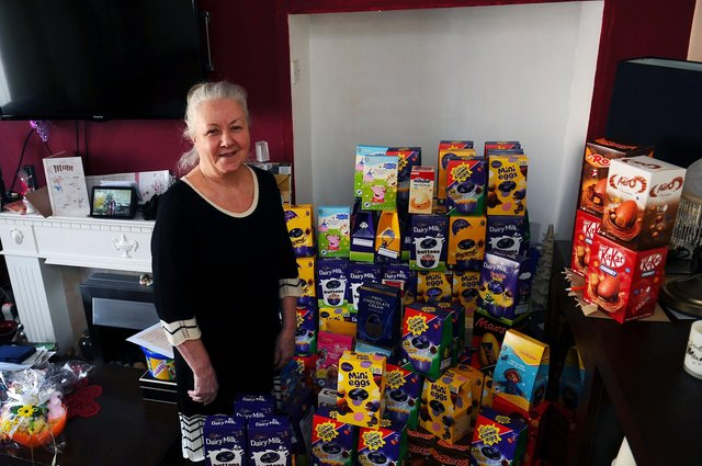 Stenhousemuir resident Linda Foster asked for Easter egg donations for vulnerable children instead of birthday gifts and has collected more than 750 through her Families in Need Facebook page. Picture: Michael Gillen.
