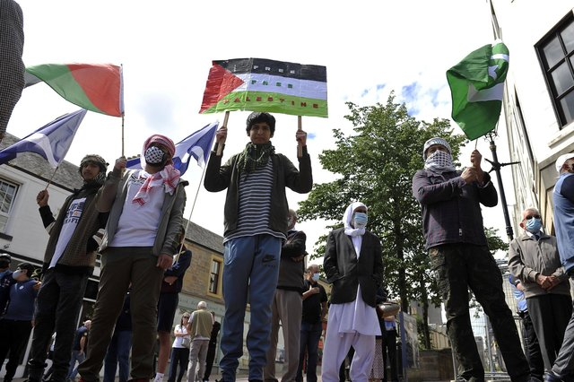 Anwar e Madina, Falkirk Islamic Centre and Rainbow Muslim Women's Group were among those involved in the peace rally in Falkirk town centre. Picture: Michael Gillen.