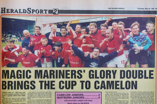 The Falkirk Herald coverage of Camelon Juniors beating Whitburn Juniors 2-1 in the Final of the Scottish Junior Cup, May 21 1995. Derek 'Dodger' Hatson -  second row, third from left
