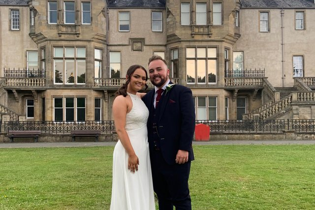 Jack and Emma on their wedding day at Falkirk's Callendar House
