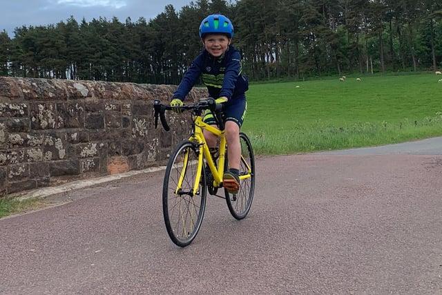 Falkirk Junior Bike Club's Finlay Gibbs taking part in his Whipman Week challenge