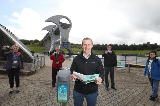 Transport Minister Michael Matheson (centre), Falkirk West MSP, at The Falkirk Wheel for the launch of Beat the Street Forth and Clyde. (From left) Robyn Wauberton, Paths For All; Ian Howarth, chairman of Falkirk and Forth Valley LEADER; Craig McGarrie, Beat the Street development manager; and Catherine Topley, chief executive officer of Scottish Canals. Picture: Helen Barrington.