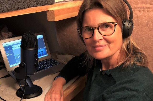 Sophie Aldred, best known as Ace in Doctor Who, recording The Barren Author