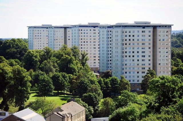 High flats at Callendar Park. (Pic: Michael Gillen)