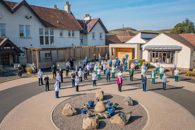 Strathcarron Hospice staff are celebrating their 40th anniversary. Picture: Scotdrone.