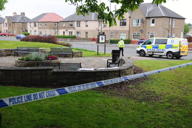 A 56-year-old man was found injured in Abbots Road, Grangemouth this morning. Picture: Michael Gillen.