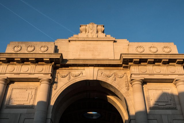 The Menin Gate in Ypres, dedicated to the British and Commonwealth soldiers who were killed in the Ypres Salient of World War I and whose graves are unknown