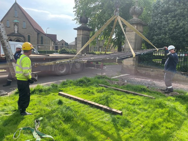 Zetland Park's iron gates have now been removed for restoration work to be carried out