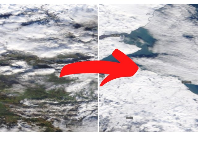 Falkirk, Edinburgh and the Lothians have been photographed from space blanketed in snow.