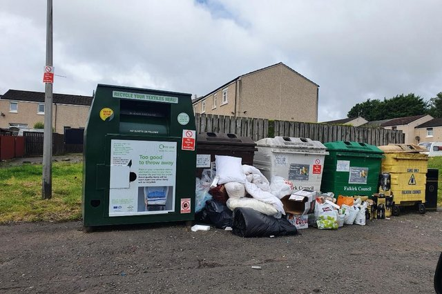 The communal recycling bins in Ochil View are becoming a real eyesore