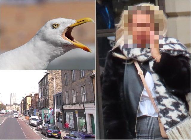 Attack scene and Bethany Ryan outside Edinburgh Sheriff Court.