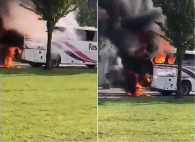 Culross bus fire: Shocking footage shows moment Fife school bus burst into flames. Credit: Fife Jammers
