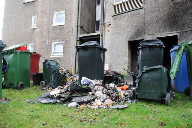 The aftermath of Sunday morning's fire in Teviot Street, Falkirk