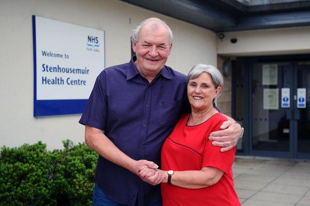 Husband and wife Peter and Isobel Hawthorn, who first met at Stenhousemuir Health Centre in the 1970s, are both retiring on March 31. Picture: Michael Gillen.