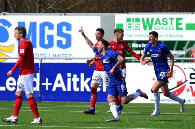 17-04-2021. Picture Michael Gillen. FALKIRK. One year and 25 days of UK wide coronavirus lockdown measures. Day 103 of mainland Scotland Lockdown Two. Falkirk is in Level 4. ABERDEEN. Balmoral Stadium. Cove Rangers FC v Falkirk FC.Season 2020 - 2021. Matchday 17. SPFL Scottish League One. Cove Rangers first goal, Mitchel Megginson 9.