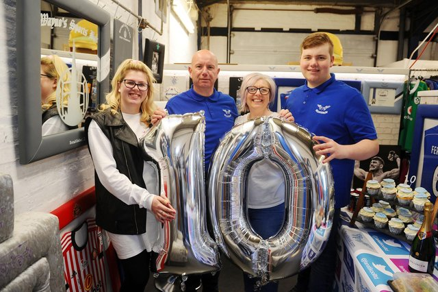 Carronshore business Fanatikool Ltd is celebrating its 10th anniversary today,April 14. Picture:Megan Comrie, 21; Alex Comrie, 50; Linda Comrie, 50; and Sinclair Comrie, 16. Picture: Michael Gillen.