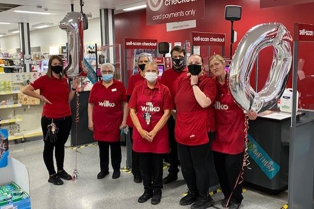 Staff at Falkirk's Wilko store celebrated the business' tenth anniversary on Tuesday. Contributed.