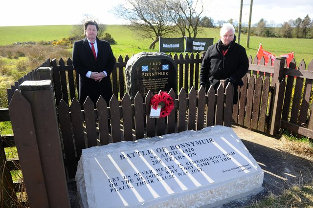 Provost Billy Buchanan (right) with Councillor Robert Bissett (left) lay a wreath on the new stone to mark the 201th anniversary (Pic: Michael Gillen)
