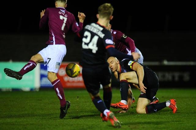 Kai Fortheringham hits the winner for Falkirk (Pics: Michael Gillen)