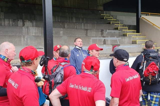 Former Scotland rugby star Doddie Weir met with those taking part in the Scottish Borders to Edinburgh walk for his foundation as they set off from Melrose Rugby Club. Contributed.