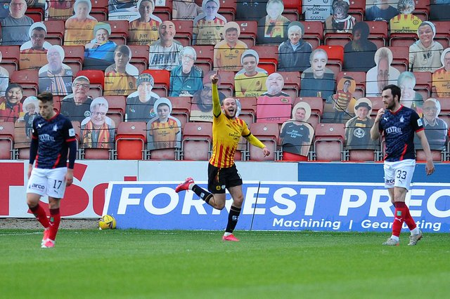 Former Falkirk striker Zak Rudden opened the scoring at Firhill as the Jags won 5-0 to be crowned League 1 champions