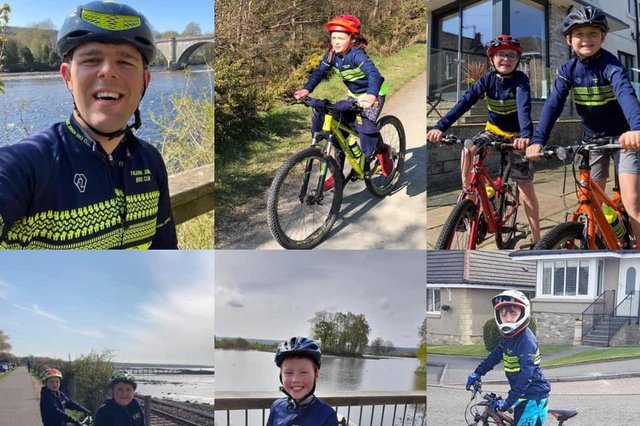Falkirk Junior Bike Club members, coaches and volunteers racked up more than 1300 miles during a 12-hour fundraiser for Strathcarron Hospice. Contributed.