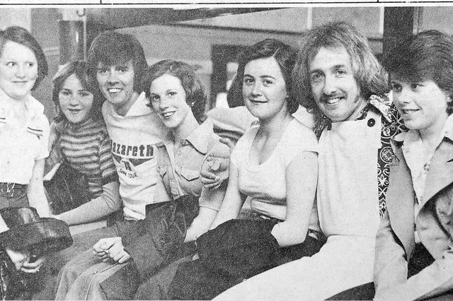Radio Clyde DJs Tom Ferrie and Bill Smith with guests at the Clyde Disco Roadshow held at Falkirk Town Hall. Stars appearing also included  chart-topping singer Tina Charles.