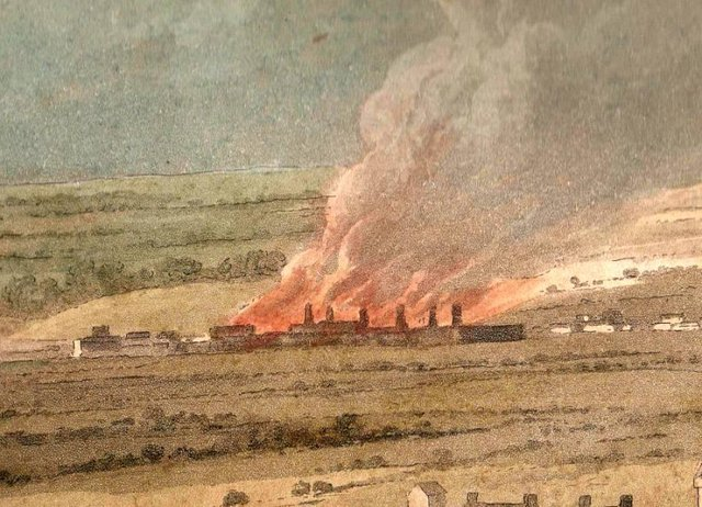 The flaming furnaces of Carron Ironworks in the background of the engraving.