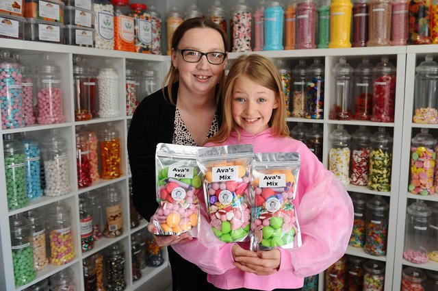Sheila's Sweets owner Pamela Kerr is selling Ava's Mix sweet pouches, created by nine-year-old Ava Easter, in aid of Scottish Autism. Picture: Michael Gillen.
