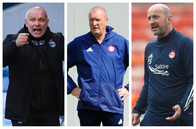John Hughes, Brian Rice and Paul Sheerin are amongst the names being linked with the vacant Falkirk manager's job (Pics: SNS & Michael Gillen)