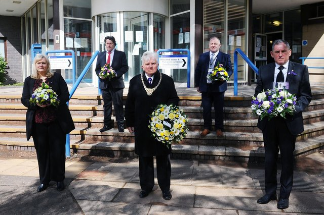 Paying tribute:  At Falkirk Municipal Building on International Workers Memorial Day areCecil Meiklejohn, SNP group leader Falkirk Council; Councillor Robert Bissett; Provost William Buchanan; Councillor James Kerr andDuncan McCallum, secretary of Falkirk Trades Union Council.