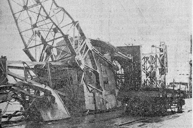 A crane at Gragemouth docks was blown over.