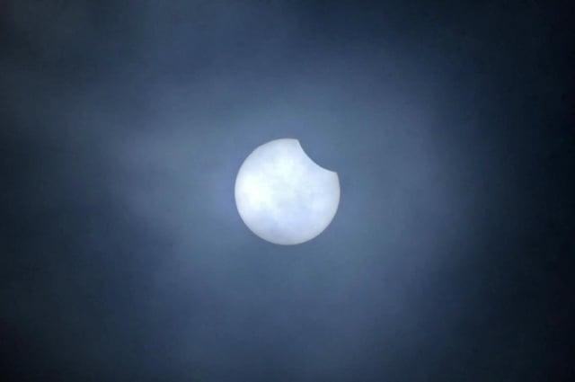 Partial solar eclipse over Falkirk today. (Pic: Michael Gillen)
