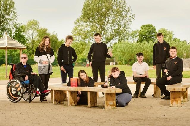 Carrongrange pupils with their enterprise award