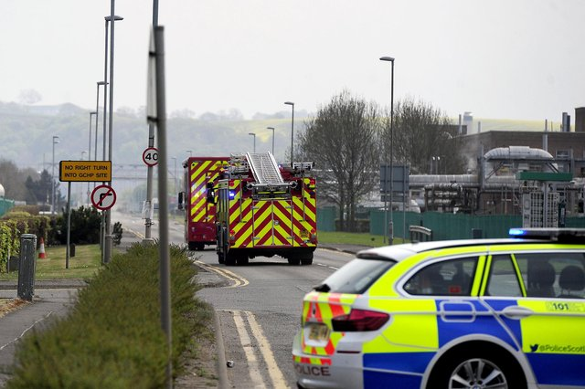 Picture Michael Gillen. Emergency services at the Ineos site.