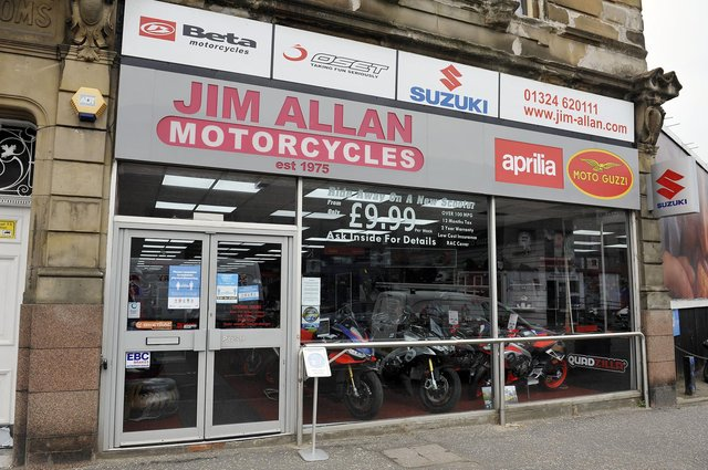 Two Beta motorbikes were stolen from Jim Allan Motorcycles in Falkirk the early hours of Saturday morning. Picture: Michael Gillen.