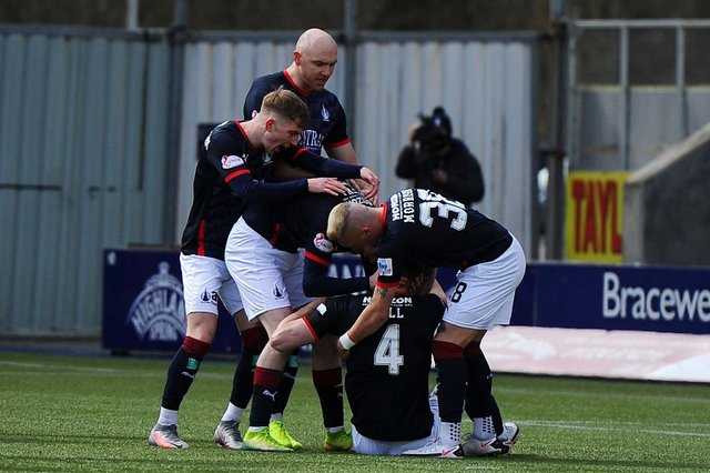 Falkirk players celebrating No 4 Ben Hall's opening goal against Clyde today, April 10 (Picture: Michael Gillen)