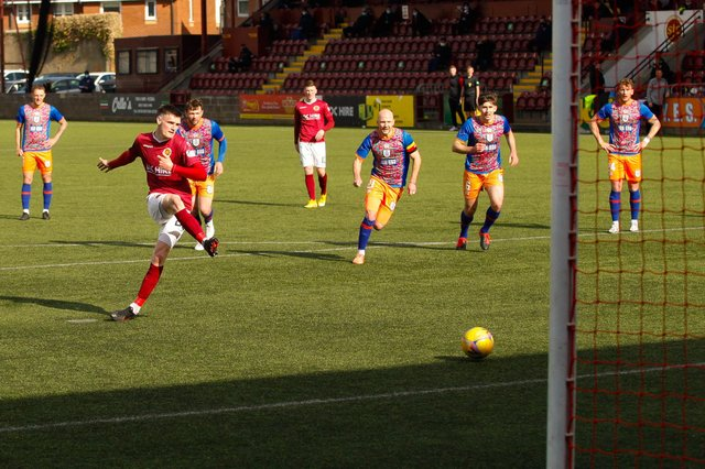 Tommy Muir has scored twice in Stenhousemuir's last two games including a penalty against Queen's Park (Pics: Scott Louden)