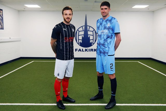 New Falkirk signings Steven Hetherington and Ryan Williamson model the 2021/22 home and away kits
