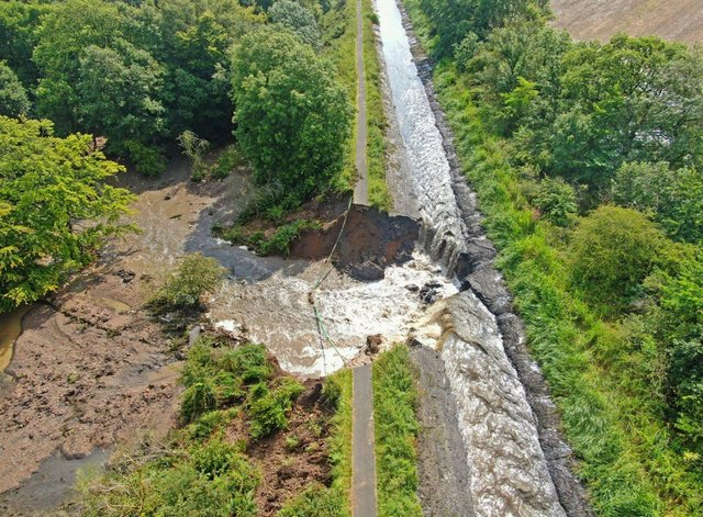 An aerial view of the 30m wide breach on Wednesday.  (Pic: Scottish Canals)