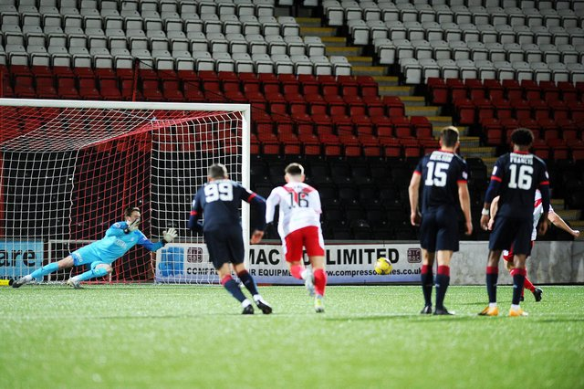 Robbie Mutch went the right way but the power and precision of Dale Carrick's 82nd minute penalty beat him and won the game for Airdrie